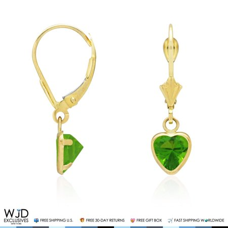 14K Solid Yellow Gold Bezel Set Peridot Heart Leverback Dangle Earrings
