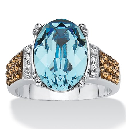 - Oval-Cut Aqua Blue Crystal Cocktail Ring MADE WITH SWAROVSKI ELEMENTS in Platinum over Sterling Silver