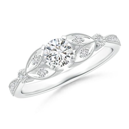 April Birthstone Ring - Solitaire Diamond Leaf Engagement Ring with Milgrain in Platinum (4.6mm Diamond) - SR1517D-PT-HSI2-4.6-10