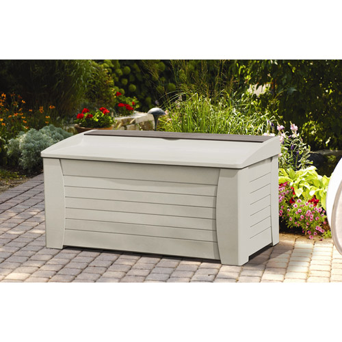 Suncast 127 Gallon Light Taupe Resin Storage Seat Deck Box DB12000