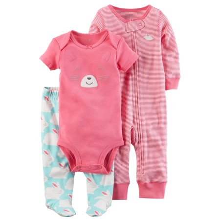 Carters Infant Girls Pink Bunny Rabbit Baby Outfit Bodysuit Pants & Coveral Set