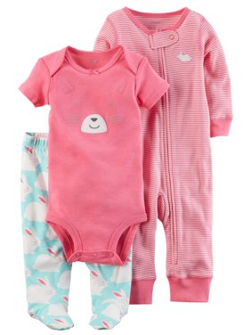 1e9e63291 Product Image Carters Infant Girls Pink Bunny Rabbit Baby Outfit Bodysuit  Pants & Coveral Set