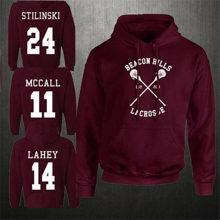 Fashion Design Wine Red Beacon Hills Lacrosse Hoodie Teen Wolf Mccall Stilinski Lahey Unisex Hooded Sweatshirt (Wolf Hood)