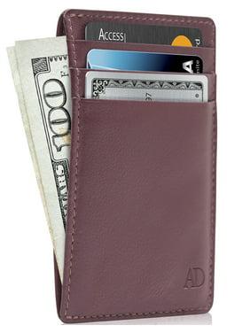 Slim Minimalist Wallets For Men & Women - Genuine Leather Card Holder Front Pocket Wallet With Gift Box RFID Blocking