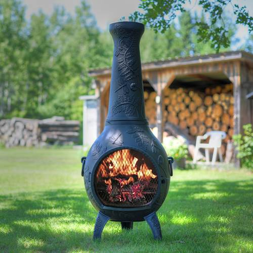 Outdoor Chiminea Fireplace Dragonfly in Antique Green Finish (Without Gas) by The Blue Rooster