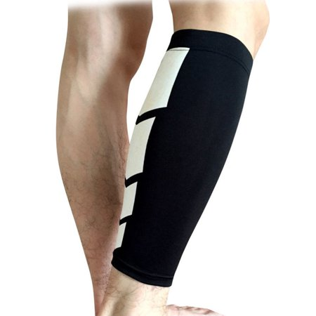Calf Compression Sleeve 2 PCS, Footless Socks, Support Stockings for Shin Splints, Leg Cramps & Circulation Remedy, Basketball Tights, Running Calf Sleeves by Juniper's Secret (Black/White, S/M) (Stocking Legs)