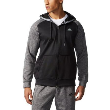 Mens Tech Jacket (Adidas Men's Tech Fleece full Zip Hooded Jacket with Climawarm Technology (Black/Grey, Small))