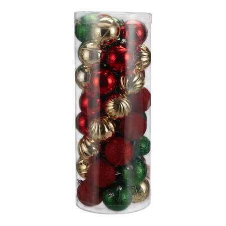 Holiday Time Shatterproof Christmas Tree Ornaments, 50 Count, Green, Gold, and Red ()