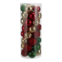Holiday Time Shatterproof Christmas Tree Ornaments, 50 Count, Green, Gold, and Red