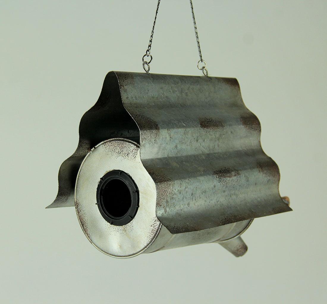 Distressed Metal Art Milk Can Hanging Bird House - image 1 de 3