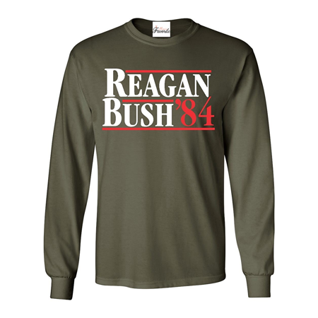 Reagan Bush 84 Long Sleeve Shirt Republican Presidential Campaign Shirts Anti Bush Tee Shirts