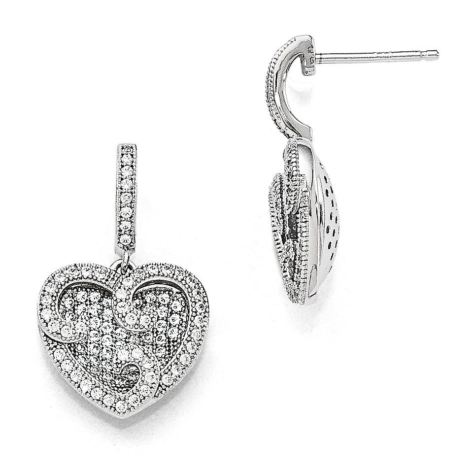 Sterling Silver Polished Heart CZ Post Earrings Heart//Love