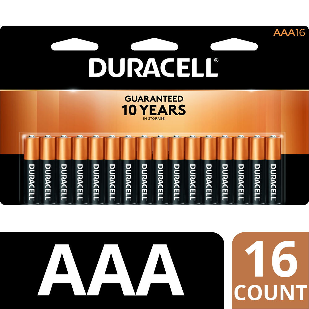 Duracell 1.5V Coppertop Alkaline, AAA Batteries, 16 Pack