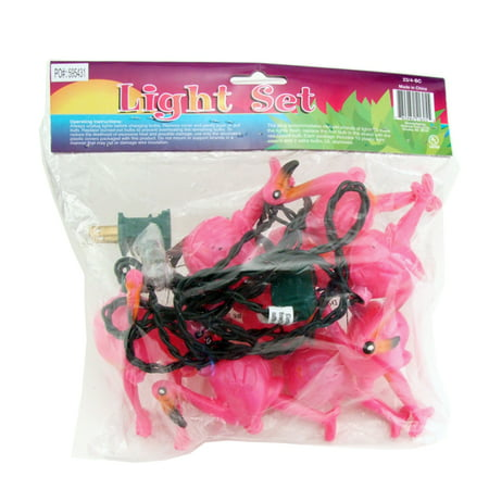 Pink Flamingo Tiki Party Lights - 8 ft - Tiki String Lights