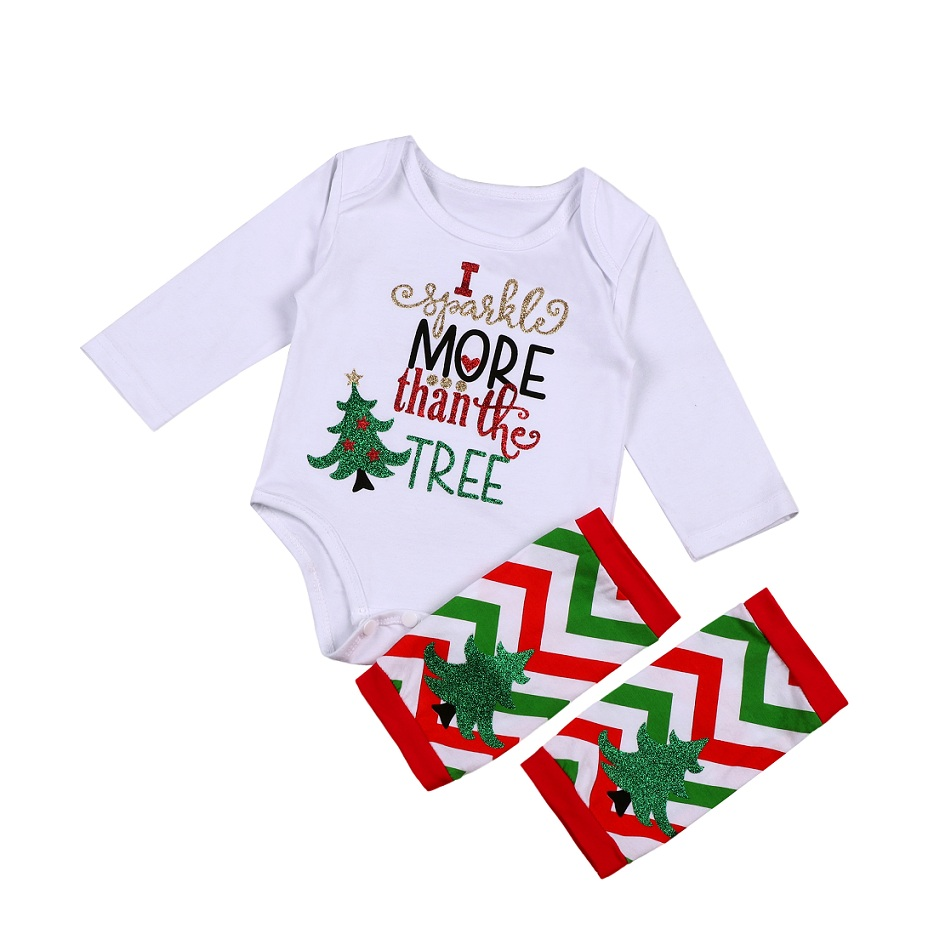 Baby Xmas Outfit Newborn Girls Long Sleeve Romper Leg Warmers Bow 2Pcs Clothes Set