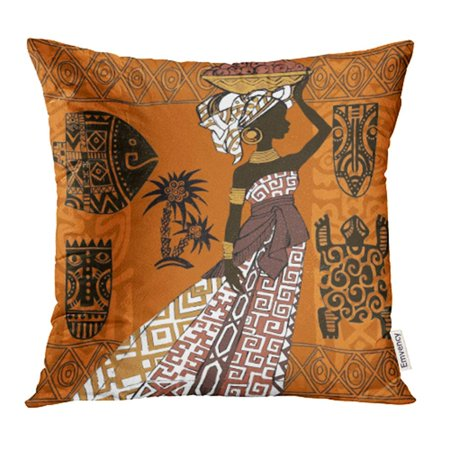 YWOTA Orange Ancient Beautiful Black Woman African Masks and Ornaments People Africa Pillow Cases Cushion Cover 20x20 inch - Pillowcase Halloween Mask