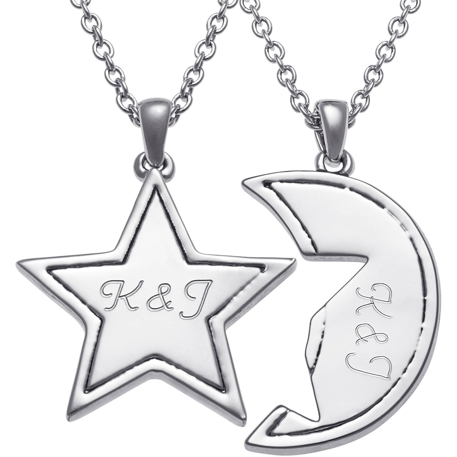 Personalized Rhodium-Tone Star and Moon Shareable Pendant Set