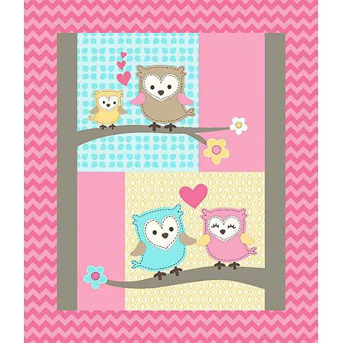 "Owl Love You Panel, Multi-Color Substrate Quilt Top, Pink, 42/43"" Wide, Fabric by the Yard"