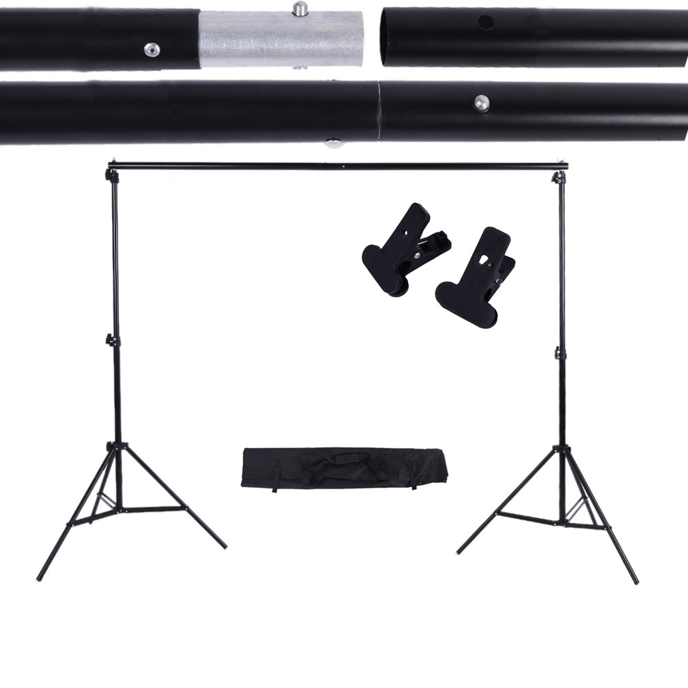 Adjustable Background Support Stand Photo Backdrop Crossbar Kit with two Clamps