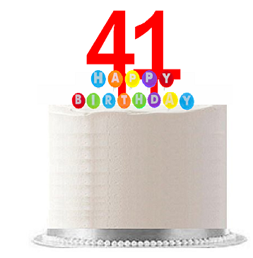 Item#041WCD - Happy 41st Birthday Party Red Cake Topper & Rainbow Candle Stand Elegant Cake Decoration Topper Kit
