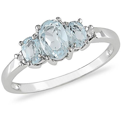 3/4 Carat T.G.W. Aquamarine and Diamond Accent Three-Stone Ring in 10kt White Gold