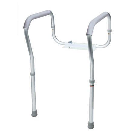 Carex Toilet Safety Frame with Padded, Non-Slip Grips, Height and Width Adjustable, Fits Most Toilets ()