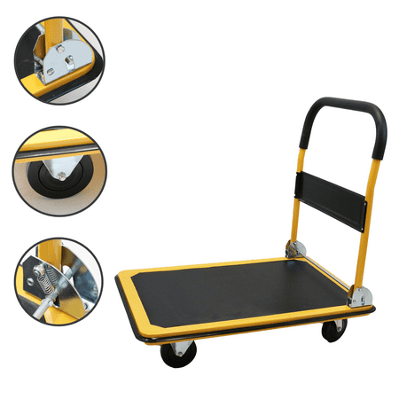 - Magshion Platform Cart Folding Dolly Foldable Hand Truck  330LB-Yellow