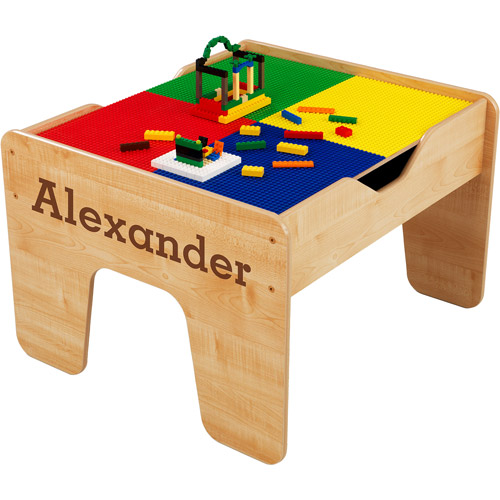KidKraft - Personalized 2-in-1 Activity Table, Brown Serif Font Boy's Name, Alexander