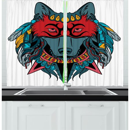 Native American Spirit Masks (Tribal Curtains 2 Panels Set, Ethnic Warrior Wolf Portrait with Mask Feathers Native American Animal Art, Window Drapes for Living Room Bedroom, 55W X 39L Inches, Teal White and Red,)