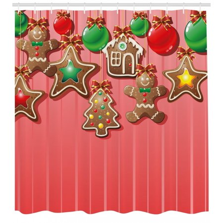 Gingerbread Man Shower Curtain Christmas Cookies And Baubles With Bowties Symbolic Pastry Kids Design