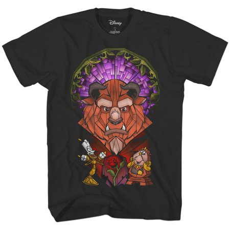 Disney Beauty and The Beast Stained Glass Belle Adult Mens Tee Graphic T-Shirt Apparel