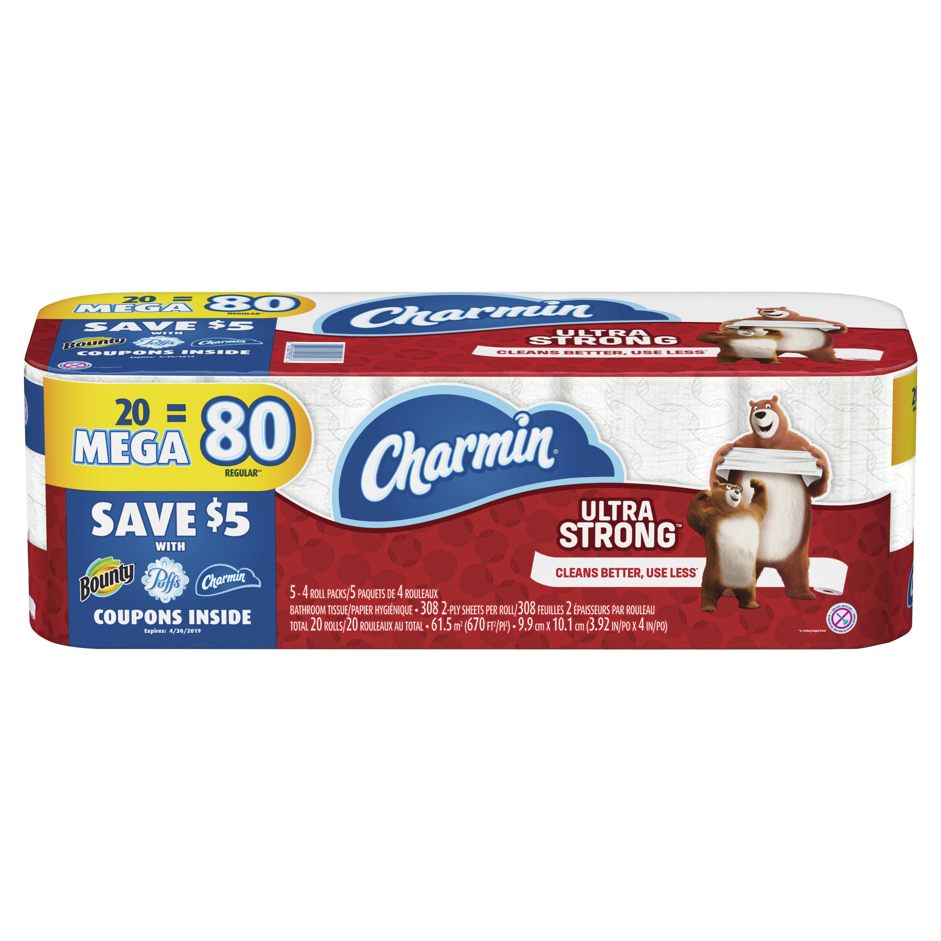Charmin Ultra Strong Toilet Paper, 20 Mega Rolls