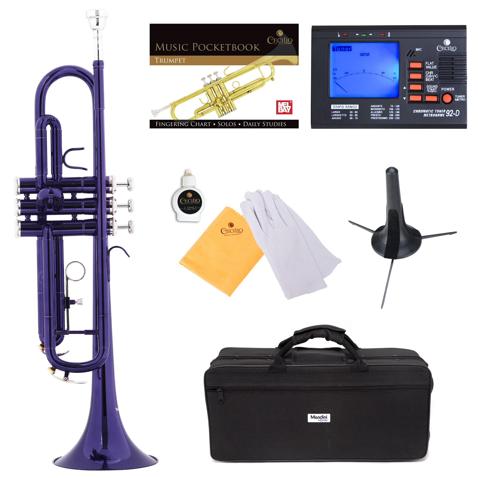 Mendini by Cecilio Bb Trumpet w/Tuner, Stand, Pocketbook, Deluxe Case and 1 Year Warranty, Purple Lacquer MTT-PL+SD+PB+92D
