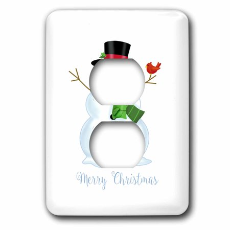 3dRose Merry Christmas- Cute Christmas Snowman with Cardinal on arm - 2 Plug Outlet Cover - Merry Christmas Cute