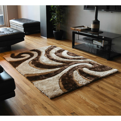 Blazing Needles Elegant Swirls Shag Beige/Brown Area Rug