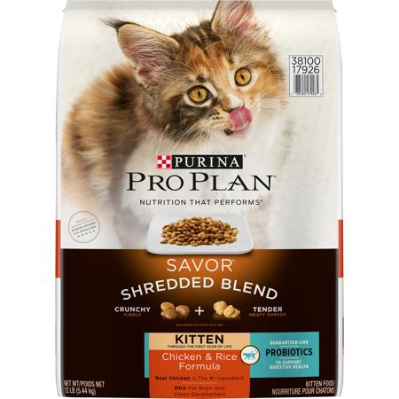 Purina Pro Plan Probiotics Dry Kitten Food, SAVOR Shredded Blend Kitten Chicken & Rice Formula, 12 lb. Bag