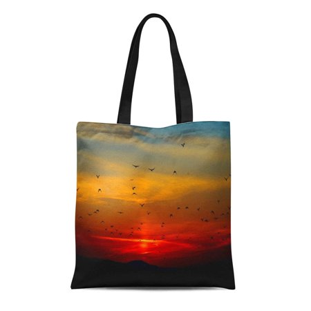 ASHLEIGH Canvas Tote Bag Nature Birds Fly Into Sunset Extra Beautiful Flying Landscape Reusable Handbag Shoulder Grocery Shopping