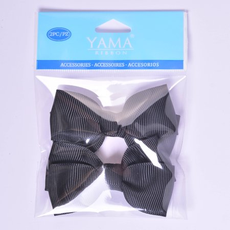 Yama Ribbon Black Grosgrain Bows, 2 Count - Large Ribbon Bows
