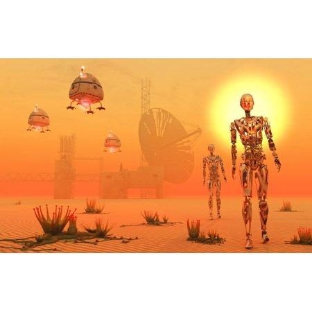Robots Being Used To Mine And Terraform A Hostile Planet Poster Print By Mark Stevensonstocktrek Images
