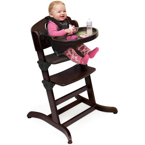 Badger Basket - Evolve Convertible Wood High Chair with Tray and Cushion, Espresso