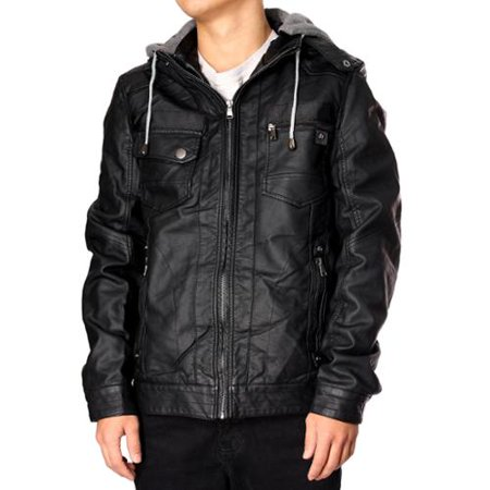 RNZ Premium Designer Men's Faux Leather Jacket - M10-Black-L