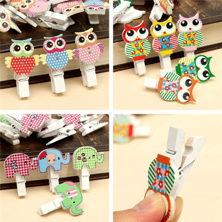 Clothespin Reindeer (30Pcs Cute Animal Wooden Clips Photo Paper Pegs Clothespin Wedding Decor)