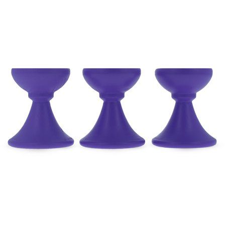 Set of 3 Purple Wooden Egg Stands Holders Displays 1.4 Inches - Eggs Halloween Display