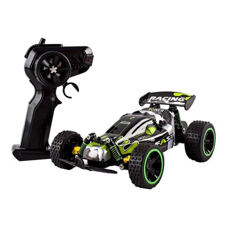 Speed Power RC Buggy 2.4Ghz 1:18 Scale Remote Control Ready to Run With Indoor Outdoor And Off-Road Suspension Strong Build Toy Green