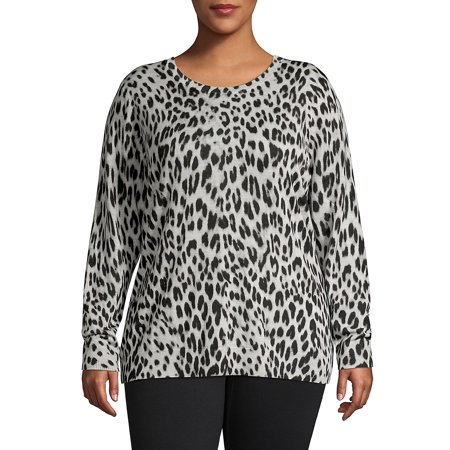 Plus Leopard-Print Crewneck Wool Sweater (Dkny Plus Size Hooded Wool Blend Babydoll Coat)