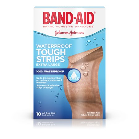 Halloween Food Bandaids ((2 pack) Band-Aid Brand Tough-Strips Waterproof Bandage, Extra Large, 10)