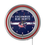 Columbus Blue Jackets NHL Chrome Double Rung Neon Clock