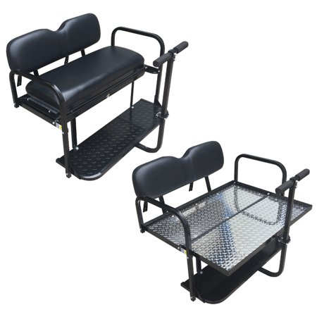 Club Car Precedent Golf Cart Flip Folding Rear Back Seat Kit - Black Cushions - Golf Cart Halloween Parade