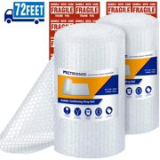 """Metronic 3/16"""" Small Bubble Roll- Perforated 12×12, 2 Rolls 72 Ft Air Bubble Cushioning Roll, Included 20 Fragile Sticker Labels for Packing Moving Shipping Boxes Supplies"""