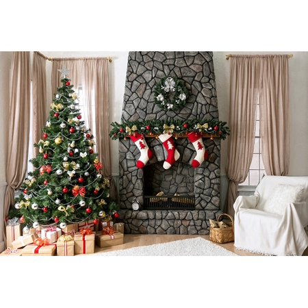 hellodecor polyster 7x5ft christmas backdrop decorations christmas fireplace photography backdrops xmas photo background